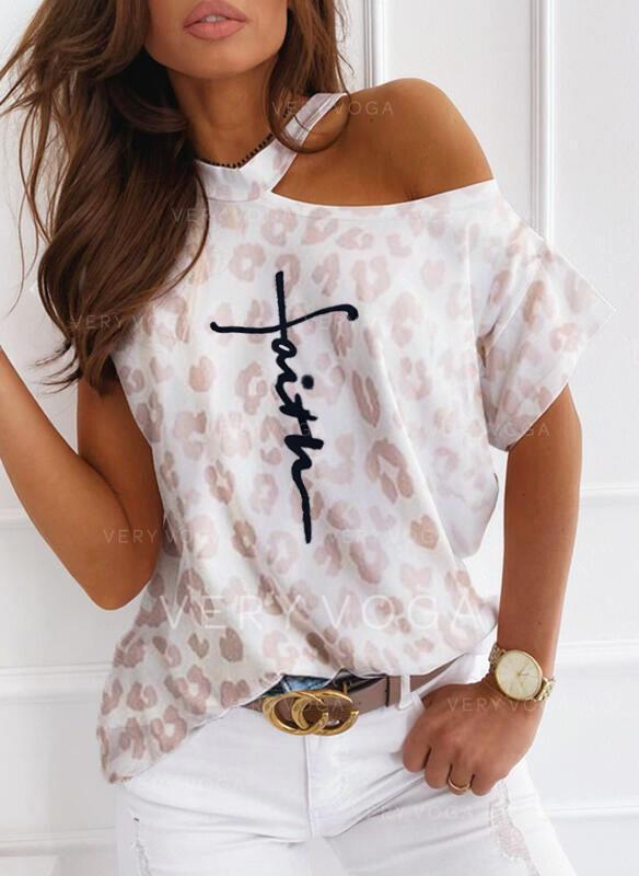 Εκτύπωση Ένας Ώμος Κοντά Μανίκια Καθημερινό Блузи