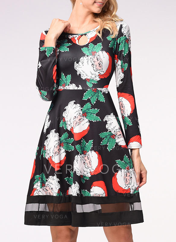 Print Long Sleeves A-line Knee Length Christmas/Casual/Elegant Dresses