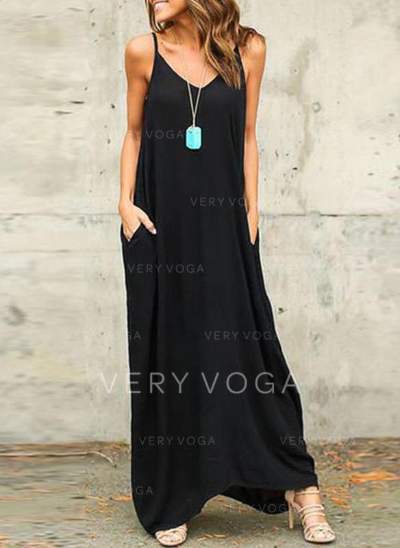 Αμάνικο Φόρεμα αλλαγής Μάξι φόρεμα φορέματα