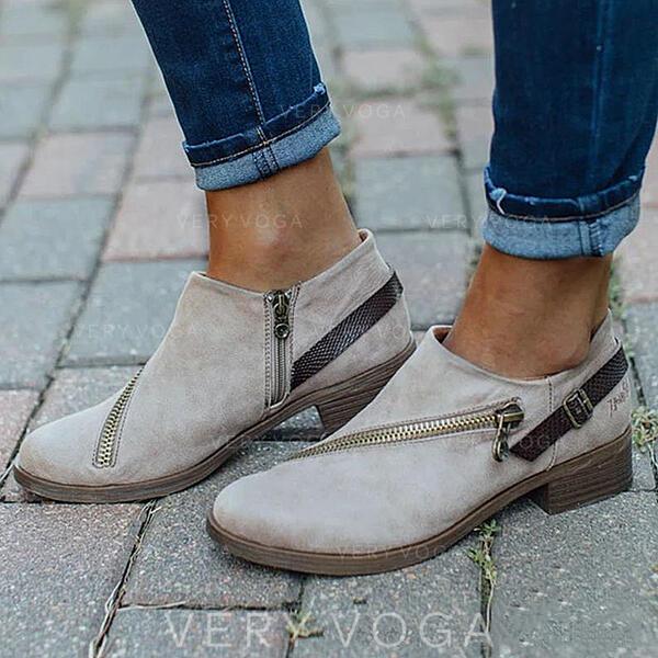 Bayanlar PU Düz topuk Ayak bileği çizmeler Düşük Üst Yuvarlak ayak Ile Fermuar Katı Renk ayakkabı