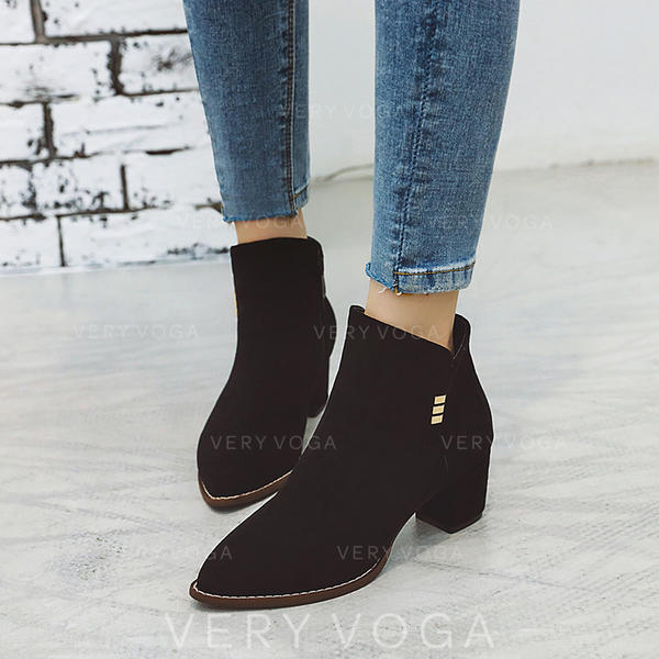Women's Suede Chunky Heel Ankle Boots With Sequin Zipper shoes