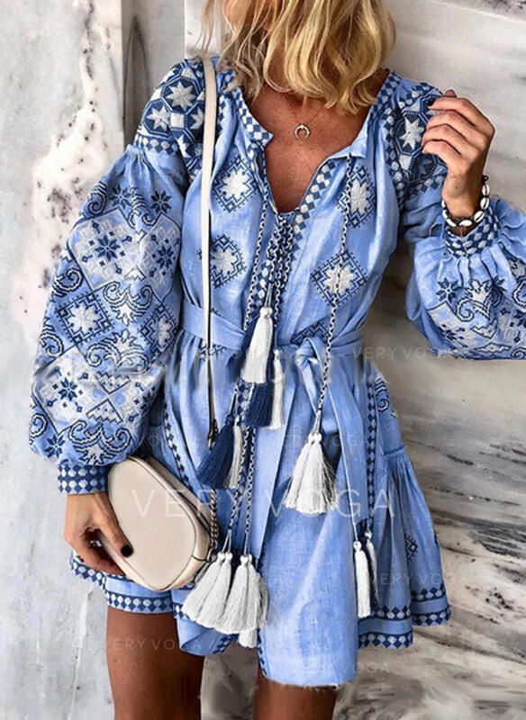 Print Long Sleeves/Lantern Sleeve A-line Above Knee Casual/Vacation Skater Dresses