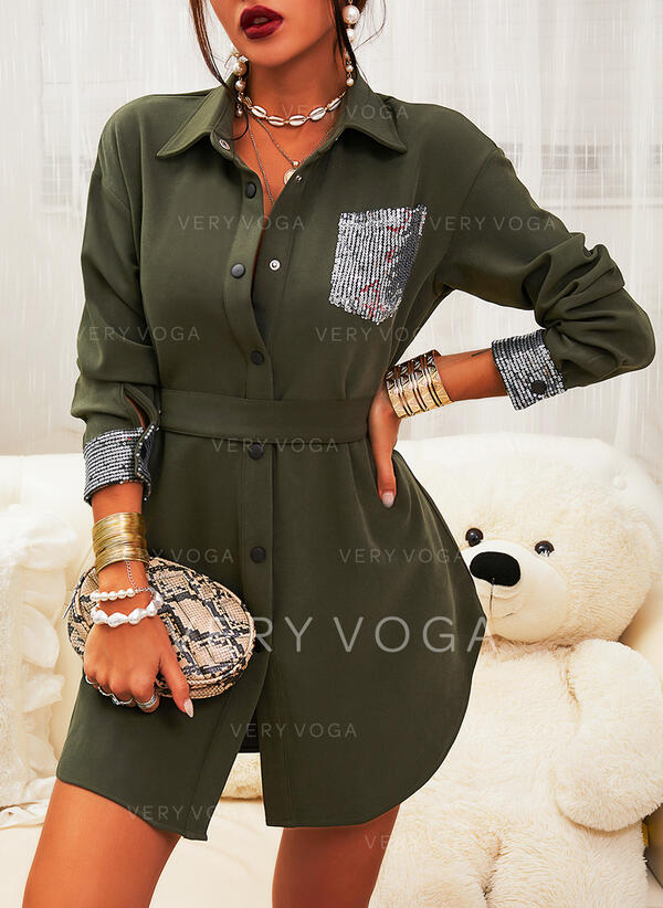 Sequins/Solid Long Sleeves Sheath Above Knee Casual Shirt Dresses