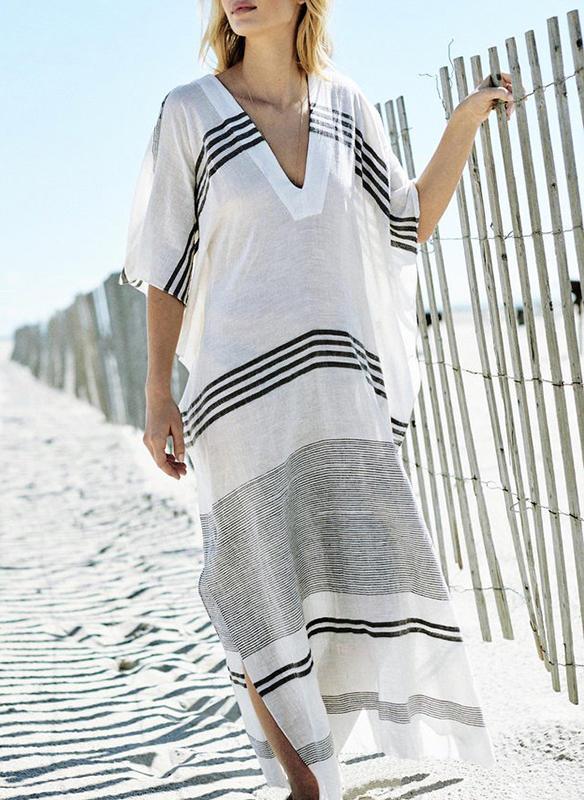 Stripe V-neck Elegant Cover-ups Swimsuits