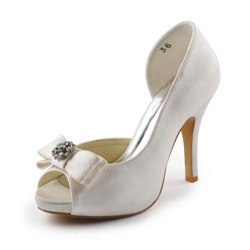 b1df059e Satyna Obcas Stożkowy Z Odkrytym Palcem Buty na Platformie Sandały Buty  Ślubne Z Kokarda Kryształ Górski