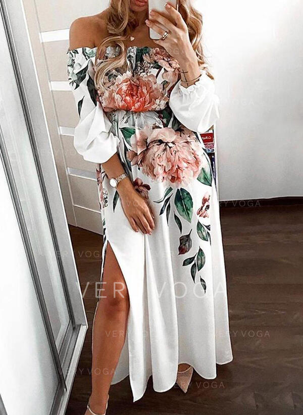 Print/Floral 3/4 Sleeves A-line Skater Party Maxi Dresses