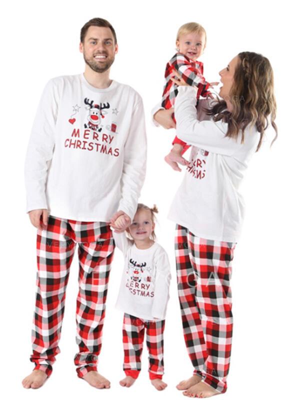 Rena Xadrez Carta Impressão Família Combinando Natal Pijama