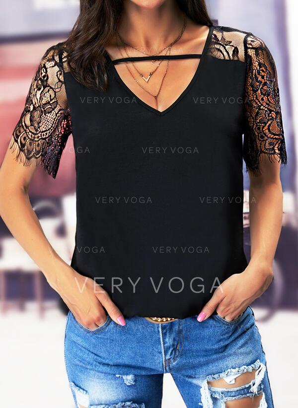 Jednolity Koronka Dekolt w kształcie litery V Krótkie rękawy Nieformalny Bluzki