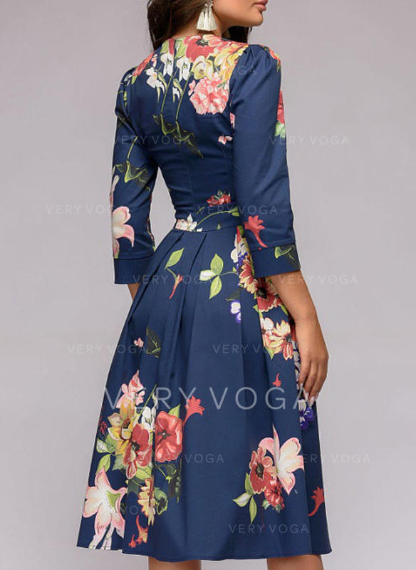 Print Floral 3 4 Sleeves A Line Knee Length Vintage Casual Party