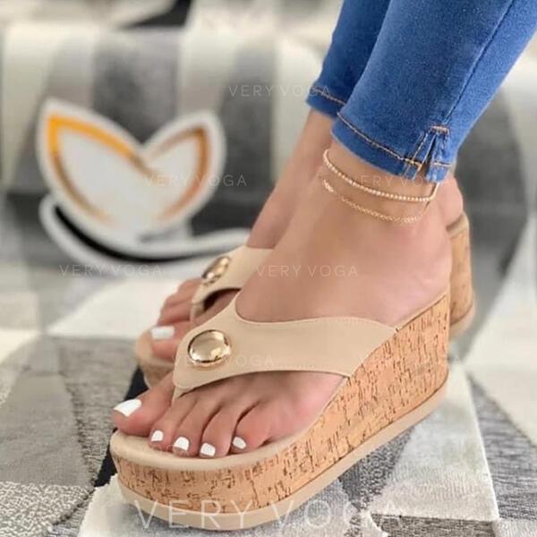 Dámské PU Klínový podpatek Sandály Platforma Boty na klínu S otevřenou špičkou Žabky Pantofle Podpatky S Zdobení korálky Vydlabaný obuv