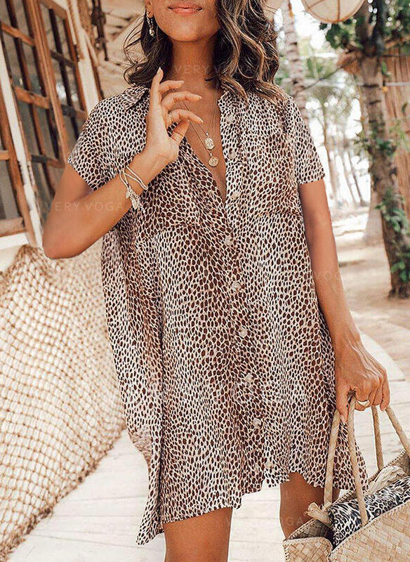 leopárd Kısa kollu Düz Kolsuz Diz üstü Günlük Gömlek Ruhák