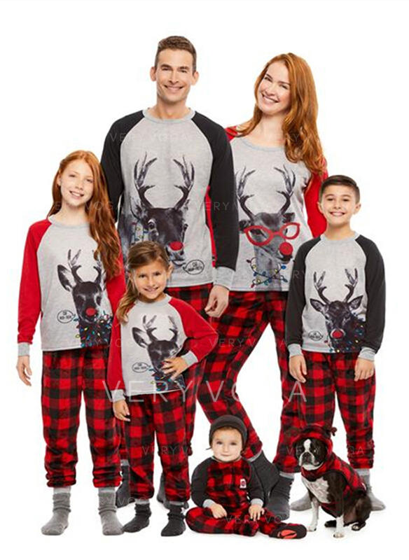 Deer Plaid Print Family Matching Christmas Pajamas