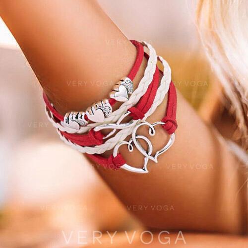 Coeur En couches La Saint-Valentin Alliage Corde tressée Femmes Bracelets