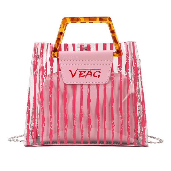 Transparente/Stripe PVC/PU Sacs fourre-tout/Sac en bandoulière