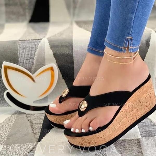 Femmes PU Talon compensé Sandales Plateforme Compensée À bout ouvert Tongs Chaussons Talons avec Brodé Ouvertes chaussures