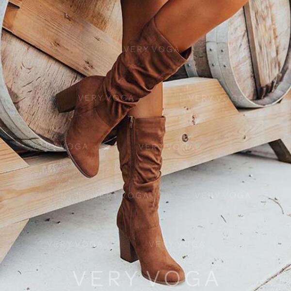 Dla kobiet Zamsz Obcas Slupek Kozaki Z Marszczenie Zamek błyskawiczny Jednolity kolor obuwie
