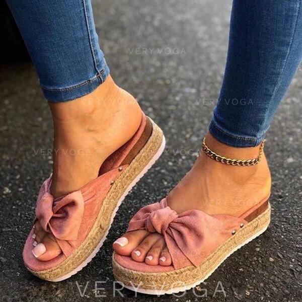 De mujer Tela Tacón plano Sandalias Pantuflas con Bowknot zapatos