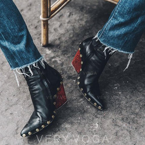 Femmes PU Talon bottier Bottines avec Rivet Zip chaussures