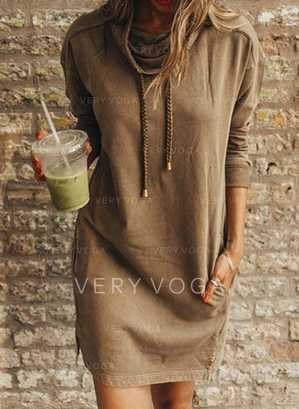 Solid Long Sleeves Shift Above Knee Casual Sweatshirt Dresses