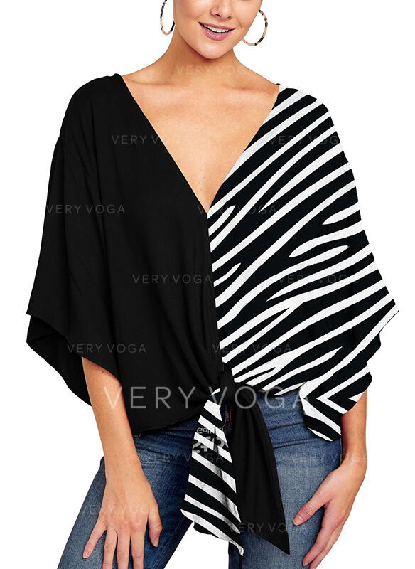 Patchwork Striped V-Neck Flare Sleeve 3/4 Sleeves Casual Blouses