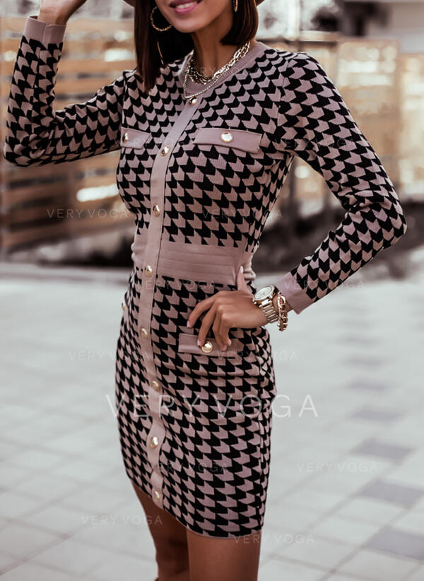 Print Long Sleeves Bodycon Above Knee Casual Sweater Dresses