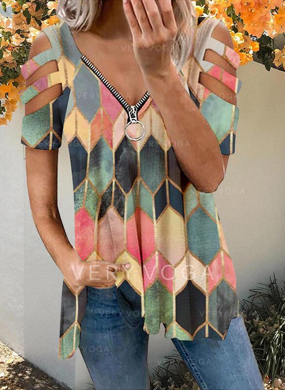 Print Geometric Cold Shoulder Short Sleeves T-shirts