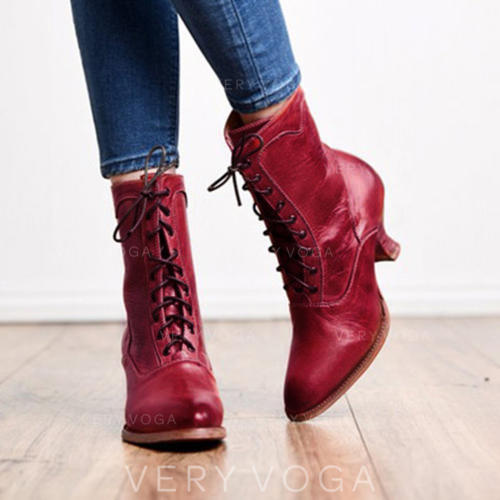 Frauen PU Niederiger Absatz Stiefel Stiefel Wadenlang mit