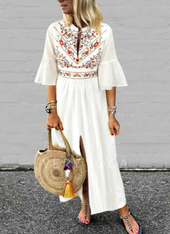 Print/Floral Flare Sleeves A-line Maxi Casual/Boho/Vacation Dresses