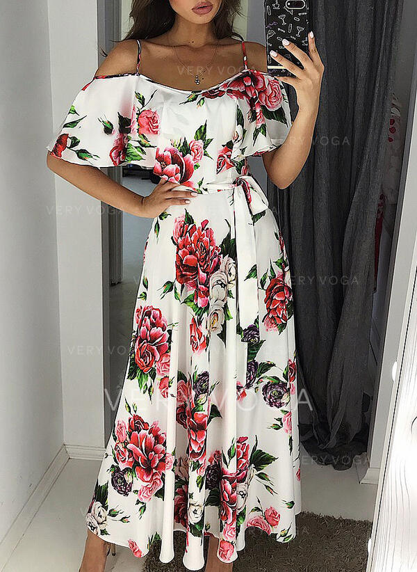 Print/Floral 1/2 Sleeves A-line Skater Casual/Elegant Midi Dresses