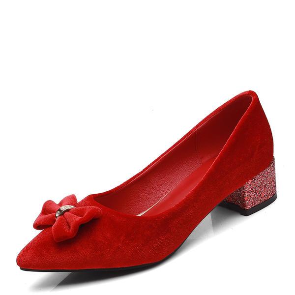 Femmes Suède Talon bas Escarpins Bout fermé avec Bowknot chaussures