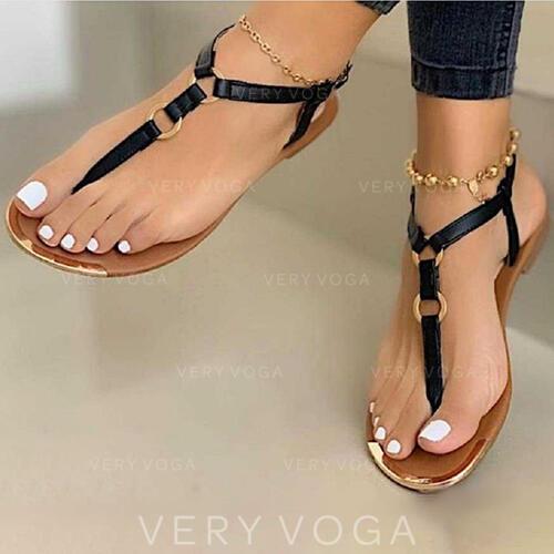 Femmes PU Talon plat Sandales Chaussures plates Tongs avec Boucle chaussures