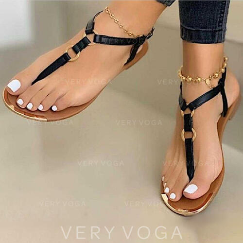Women's PU Flat Heel Sandals Flip-Flops shoes