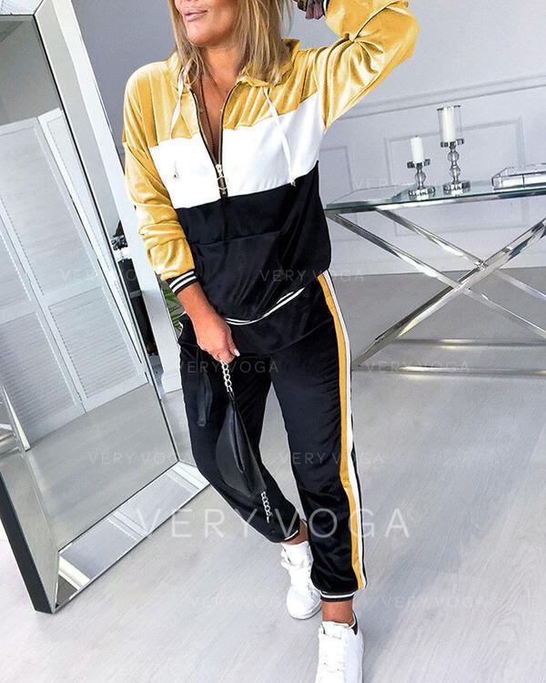Hooded Long Sleeves Color Block Fashionable Top & Pants Sets