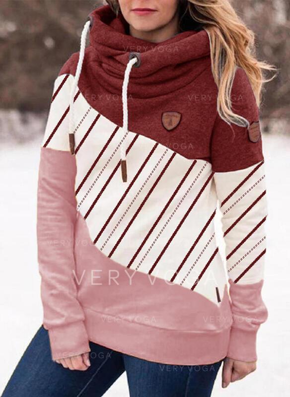Print Striped Long Sleeves Hoodie