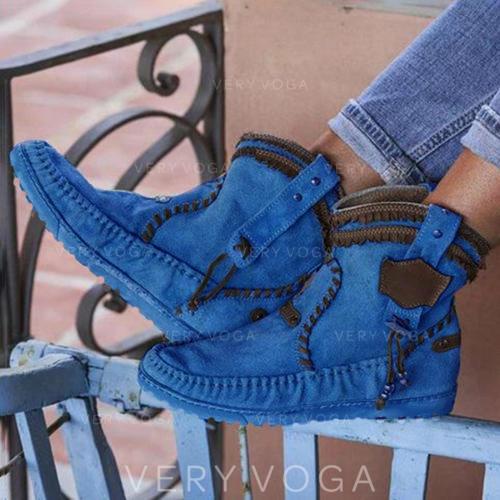 Γυναίκες PU Επίπεδη φτέρνα Μπότες Με Πόρπη παπούτσια