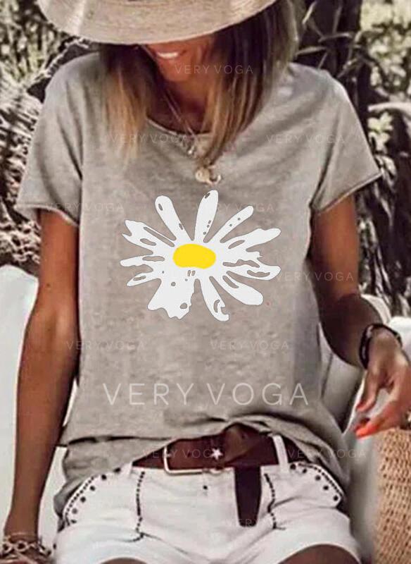 Floral Estampado Gola Redonda Manga Curta Camisetas