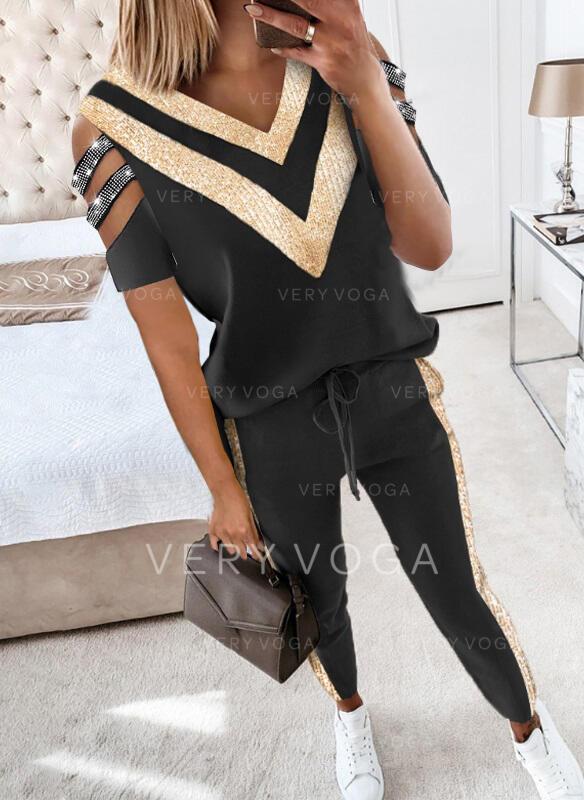 Renkli klişe gündelik blouse & İki Parça Kıyafetler Set ()