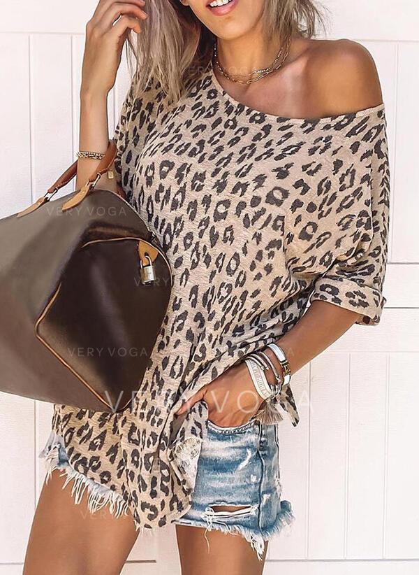 Leopard Rundhalsausschnitt Kurze Ärmel Freizeit T-shirts