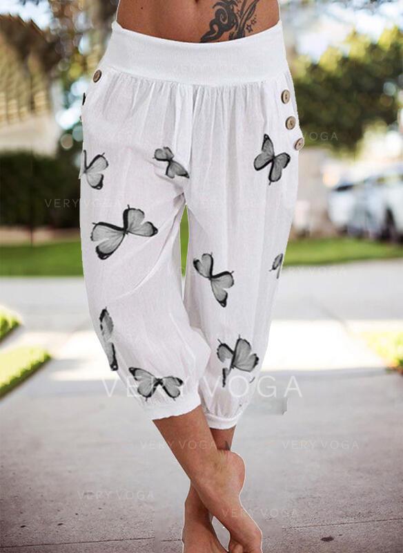 Estampado borboleta Capris Casual férias Tamanho positivo Bolso Button Calças Calças Lounge