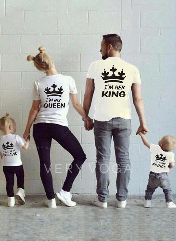Letter Cartoon Print Family Matching T-Shirts