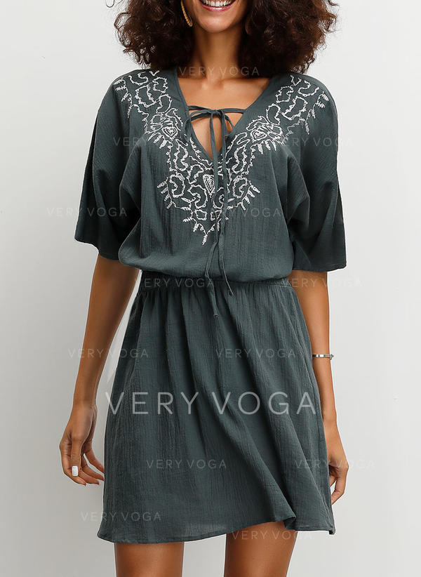 Embroidery 1/2 Sleeves A-line Above Knee Casual/Boho/Vacation Dresses