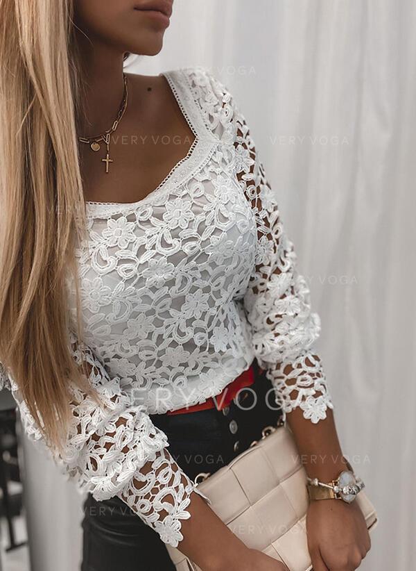 Jednobarevný Krajka Hranatý výstřih Dlouhé rukávy Neformální Bluze