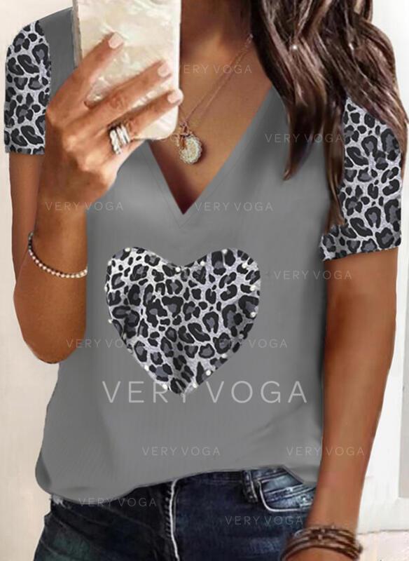 lampart Serce Dekolt w kształcie litery V Krótkie rękawy T-shirty