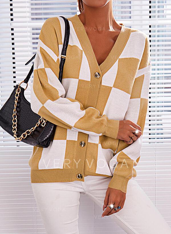 Print Color Block V-Neck Casual Cardigan