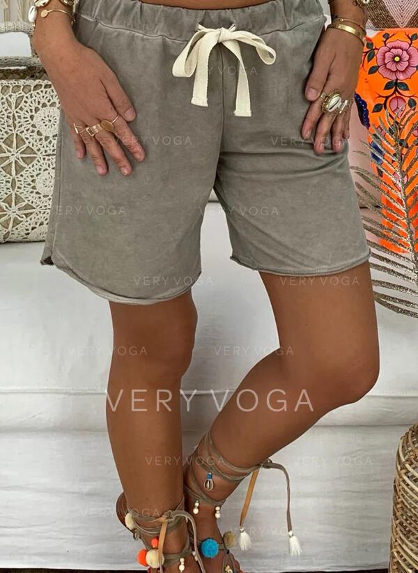 Sólido Por encima de la rodilla Casual Sólido Pantalones cortos