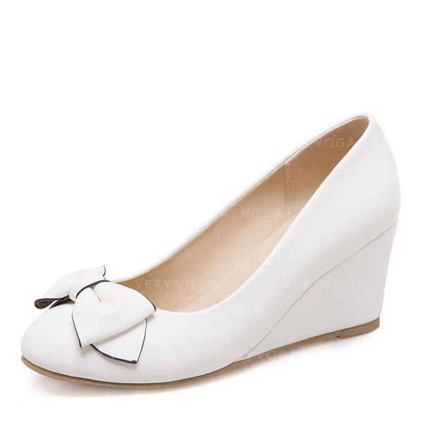 Women's Leatherette Wedge Heel Pumps Closed Toe Wedges With Bowknot shoes