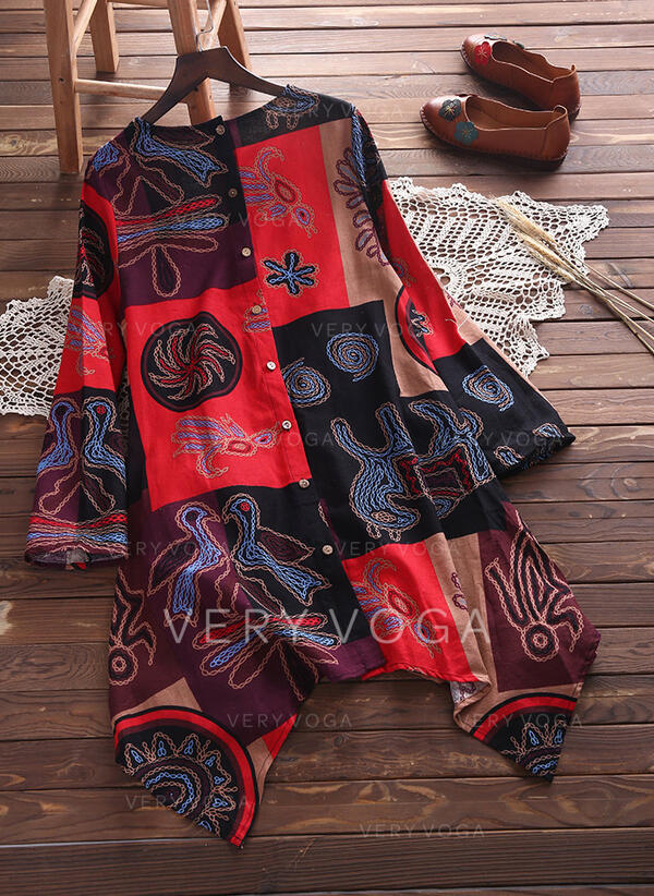 Print/Patchwork Long Sleeves Shift Asymmetrical Boho/Vacation Dresses