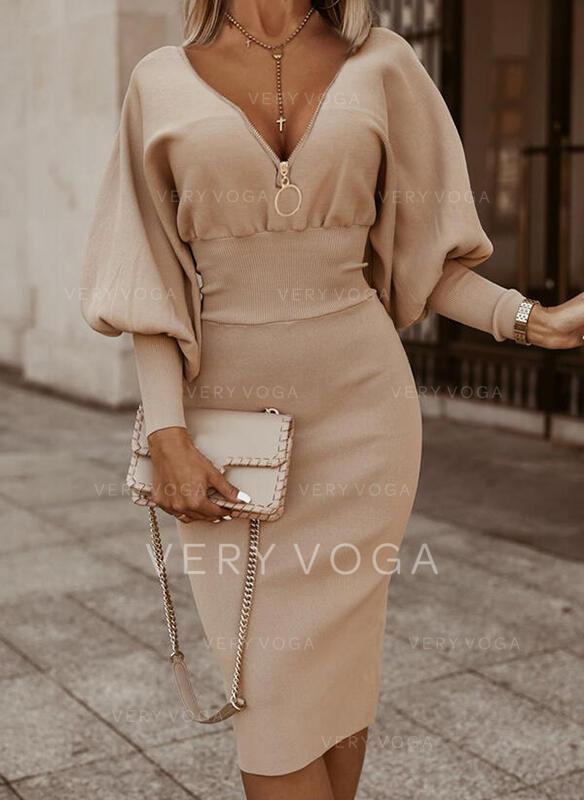 Solide Lange Mouwen/Lantaarn Mouw Bodycon Knielengte Zwart jurkje/Elegant Potlood Jurken