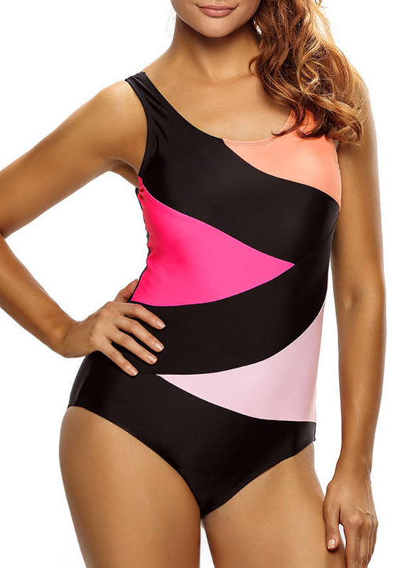 Colorful U-Neck Elegant Plus Size One-piece Swimsuits