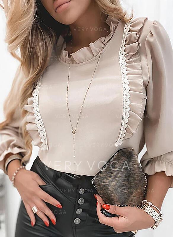 Jednobarevný Stojáček Dlouhé rukávy Elegant Bluze